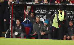 Arsenal manager Arsene Wenger in the dugout during the Premier League match at Selhurst Park, London.