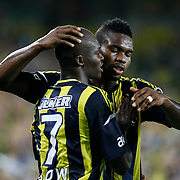 Fenerbahce's Joseph Michael Yobo (R) with Moussa Sow celebrating his goal during their Turkish Superleague soccer match Fenerbahce between Gaziantepspor at the Sukru Saracaoglu stadium in Istanbul Turkey on Saturday 25 August 2012. Photo by TURKPIX