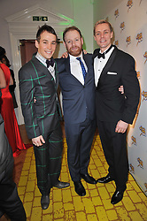 Left to right, PAUL KEATING, DAVID GANLY and EDWARD BAKER-DULY at the press night of the new Andrew Lloyd Webber  musical 'The Wizard of Oz' at The London Palladium, Argylle Street, London on 1st March 2011 followed by an aftershow party at One Marylebone, London NW1