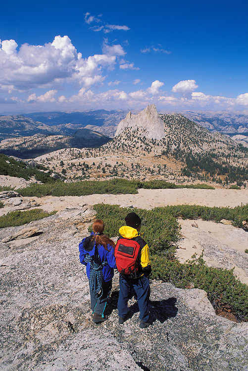 Climbers descending from Echo Pass towards Cathedral Peak, Tuolumne Meadows area, Yosemite National Park, California
