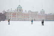 London, UK. Sunday 20th January 2013. Snow fall covering Horse Guards Parade in London. People come out to enjoy this winter scene.