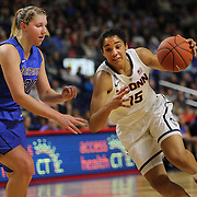 Gabby Williams, UConn, drives to the basket past Megan Podkowa, DePaul, during the UConn Vs DePaul, NCAA Women's College basketball game at Webster Bank Arena, Bridgeport, Connecticut, USA. 19th December 2014