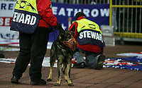 Photo: Paul Thomas.<br /> Werder Bremen v Chelsea. UEFA Champions League, Group A. 22/11/2006.<br /> <br /> Security Dogs in front of the Chelsea fans.