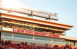 25 October 2014: The renovated east stands of Hancock  Stadium shine in the golden light of the late afternoon during an NCAA Missouri Valley Conference game between the Missouri State Bears and the Illinois State Redbirds at Hancock Stadium in Normal, Illinois.