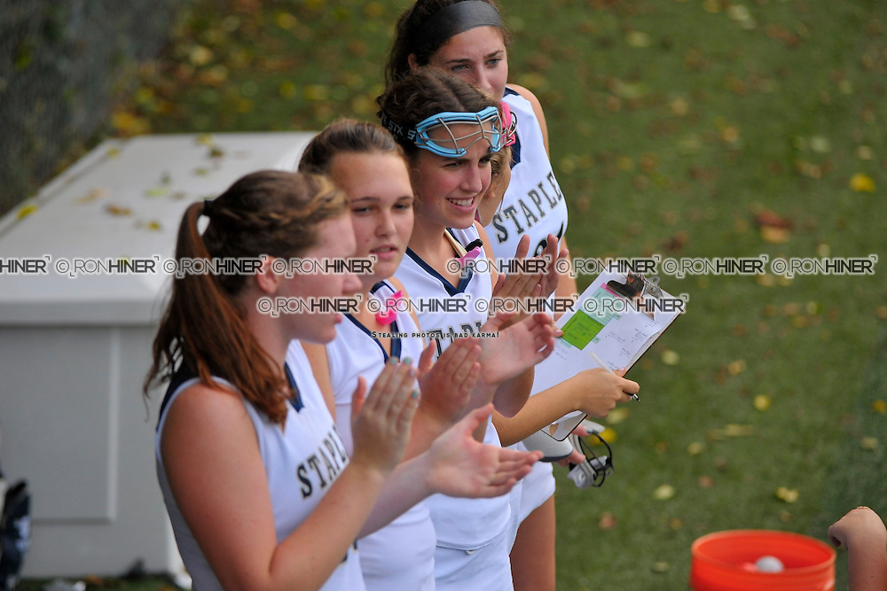 Staples High School Field Hockey..Staples defeats Danbury 7-1..Shannon Connors.Elizabeth Coogan.Lucy Deflavio (SR).Lindsay Bernard (SR)