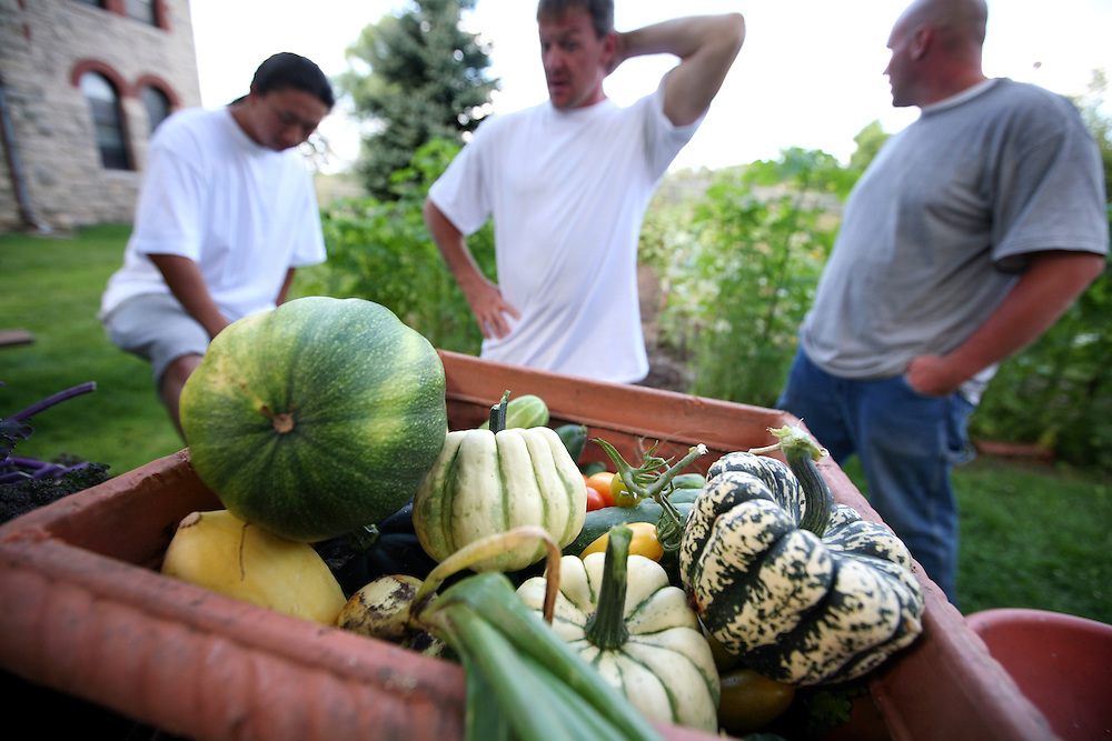 Left to right, inmates Hlee Vang, Jeremy Buschman and Justin Swanson take a break after harvesting multiple loads of vegetables from the garden at the Minnesota Correctional Facility in Red Wing August 20, 2012.  The food is taken to a local food shelf and a women's shelter.