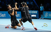 Bob Bryan and Mike Bryan celebrates match point  against Ivan Dodig and Marcelo Melo in their Doubles Final match<br /> <br /> Photographer Kieran Galvin/CameraSport<br /> <br /> International Tennis - Barclays ATP World Tour Finals - O2 Arena - London - Day 8 - Sunday 16th November 2014<br /> <br /> © CameraSport - 43 Linden Ave. Countesthorpe. Leicester. England. LE8 5PG - Tel: +44 (0) 116 277 4147 - admin@camerasport.com - www.camerasport.com