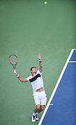 NICOLAS MAHUT hits a serve during his second round match at the Citi Open at the Rock Creek Park Tennis Center in Washington, D.C.