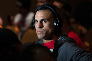"""Vitor """"The Phenom"""" Belfort sits backstage before the official UFC 187 weigh-in event at the MGM Grand in Las Vegas, Nevada on May 22, 2015. (Cooper Neill)"""