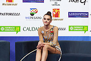 Harnasko Alina on Kiss and Cry at World Cup Pesaro 2018.<br /> Alina is a Belarusian gymnast was born August 9, 2001 in Minsk.