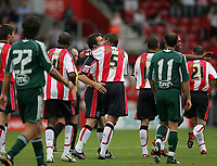 Photo: Lee Earle.<br /> Southampton v Panathinaikos. Pre Season Friendly. 29/07/2006. Saint's David Prutton is congratulated after scoring their opening goal.