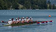 "Lucerne, SWITZERLAND, 15th July 2018, Sunday Women's Eights  bronze medalist,  USA W8+, Bow, Victoria OPITZ,  Gia DOONAN, Emily REGAN,  Felice MUELLER,  Dana MOFFAT, Tracy EISSER, Kristine O'BRIEN,  Olivia COFFEY and ""Cox, Katelin GUREGIAN"", FISA World Cup III Lake Rotsee, © Peter SPURRIER,"