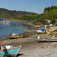 South America, Chile, Puerto Montt. Fishing Harbor of Puerto Montt.