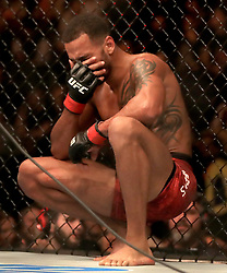 Danny Roberts reacts after losing his Welterweight bout during UFC Fight Night 147 at The O2 Arena, London.