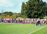 Crowds watch Dulwich Hamlet FC Vs Tooting & Mitcham United FC during the South London Derby on August bank holiday Monday on 28th August 2017 in London, United Kingdom. Both teams play in the Isthmian League Premier Division, a regional mens football league covering London, East and South East England.