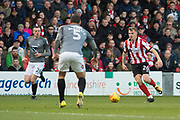 Lincoln City Midfielder Harry Anderson in action during the EFL Sky Bet League 2 match between Lincoln City and Coventry City at Sincil Bank, Lincoln, United Kingdom on 18 November 2017. Photo by Craig Zadoroznyj.