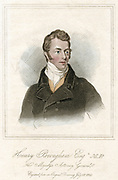 Henry Peter Brougham (1778-1868) 1st Baron Brougham and Vaux. Scottish lawyer and politician. Queen Caroline's defence: London University: founded Social Science Association (1857). Hand-coloured engraving 1820.