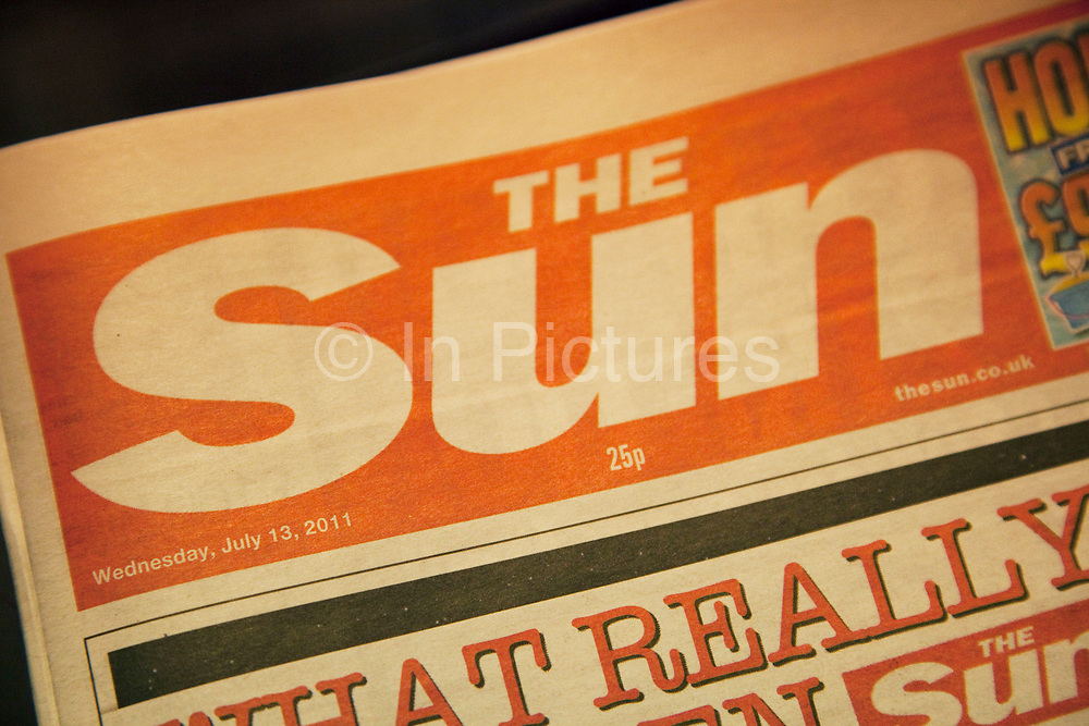 British newspaper The Sun. Part of the Murdoch empire of News Corporation and News International. Headlines are of the phone hacking scandal.