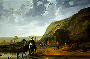 River Landscape with Riders by Aelbert Jacobsz Cuyp (1620-1691) oil on canvas.  This is a panoramic, sun-drenched river landscape, somewhat hazy in the distance, with sketchily drawn clouds.  He was one of the leading Dutch landscape painters of the Dutch Golden Age in the 17th century.