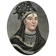 Machine colorised portrait of a Chinese Princess of the Manchoo Tartar Race Copperplate engraving From the Encyclopaedia Londinensis or, Universal dictionary of arts, sciences, and literature; Volume IV;  Edited by Wilkes, John. Published in London in 1810