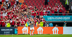AMSTERDAM, THE NETHERLANDS - Saturday, June 26, 2021: Denmark's Kasper Dolberg celebrates with supporters after the UEFA Euro 2020 Round of 16 match between Wales and Denmark at the  Amsterdam Arena. Denmark won 4-0. (Photo by David Rawcliffe/Propaganda)