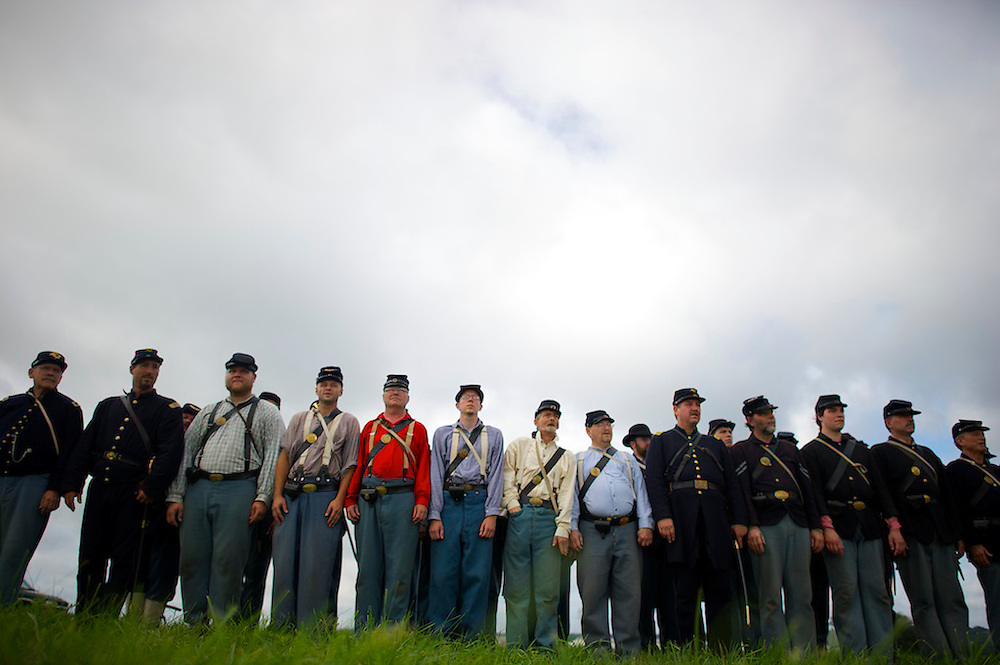 The 8th Maryland and 4th New Jersey Union Infantry units perform regimental drills before the first battle of the four day Gettysburg Anniversary Committee 150th Gettysburg reenactment called 'The Devil's to Pay' in Gettysburg, PA on July 4, 2013.