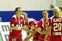 03.12.2008 Ohrid (FYR Macedonia)<br />Norway-Spain European women's handball championship<br /> Karoline Dyhre Breivang(L) with Aamodt Ragnhild(R) Norway after losed match<br />Foto:Aleksandar Djorovic