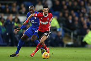 Kevin Bru of Ipswich Town gets the ball ahead of Sol Bamba of Cardiff City. EFL Skybet championship match, Cardiff city v Ipswich Town at the Cardiff city stadium in Cardiff, South Wales on Tuesday 31st October 2017.<br /> pic by Andrew Orchard, Andrew Orchard sports photography.