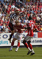 Photo: Olly Greenwood.<br />Charlton Athletic v Sheffield United. The Barclays Premiership. 21/04/2007. Sheffield United's Keith Gillespie heads very close at goal