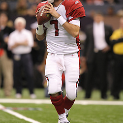 16 January 2010:Arizona Cardinals quarterback Matt Leinart (7) looks to throw during a 45-14 win by the New Orleans Saints over the Arizona Cardinals in a 2010 NFC Divisional Playoff game at the Louisiana Superdome in New Orleans, Louisiana.