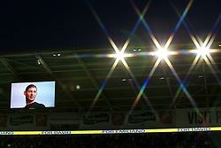 A picture of Emiliano Sala is shown on the big screen in tribute to the missing footballer at Cardiff City Stadium during the Premier League match at the Cardiff City Stadium.