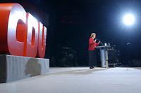 12 JAN 2003, BRAUNSCHWEIG/GERMANY:<br /> Angela Merkel, CDU Bundesvorsitzende, waehrend ihrer Rede, Wahlkampfauftakt der CDU Niedersachsen zur Landtagswahl, Volkswagenhalle<br /> IMAGE: 20030112-01-032<br /> KEYWORDS: speech, logo