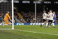 GOAL 1-2 Oldham Athletic forward Callum Lang (19) scores Oldham's winner during The FA Cup 3rd round match between Fulham and Oldham Athletic at Craven Cottage, London, England on 6 January 2019.
