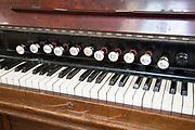 Close up of keyboard of church organ