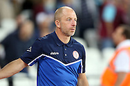 John Coleman, the Accrington Stanley manager looks on . EFL Cup, 3rd round match, West Ham Utd v Accrington Stanley at the London Stadium, Queen Elizabeth Olympic Park in London on Wednesday 21st September 2016.<br /> pic by John Patrick Fletcher, Andrew Orchard sports photography.