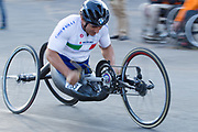 Alex Zanardi helps his Italian team win the team handcycle relay during the Road Race on Day 4 of the 2017 UCI Para-cycling Road World Championships held at Alexandra Park Pietermaritzburg, South Africa, on Sunday 3 September 2017. Image by Greg Beadle