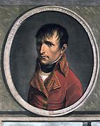 Napoleon Bonaparte  (1769-1821) as First Consul. Aquatint.