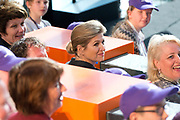 Koningin Maxima opent Week van het Geld in Beeld en Geluid, Hilversum. Het doel van deze week is om basisschoolleerlingen te leren omgaan met geldzaken. /// Queen Maxima opens the Money Week in Sound and Vision, Hilversum. The purpose of this week is to learn how to deal with money matters. Elementary school students<br /> <br /> Op de foto / On the photo:    Koningin Maxima /  Queen Maxima