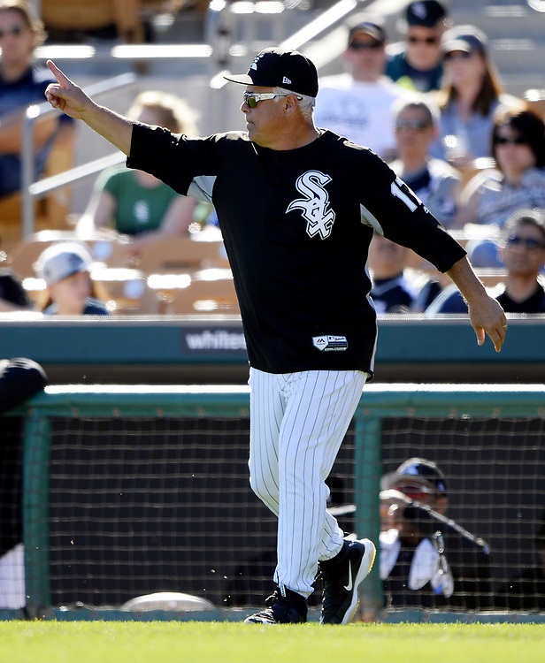 GLENDALE, ARIZONA - MARCH 06:  Manager Rick Renteria #17 makes a pitching change during a spring training game against the San Diego Padres on March 6, 2017 at Camelback Ranch in Glendale Arizona.  (Photo by Ron Vesely)   Subject:   Rick Renteria