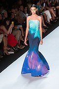 Aqua and purple strapless gown. By Monique Lhuillier at Spring 2013 Fall Fashion Week in New York.