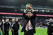 Chris Coleman, the Wales manager  celebrates after the match as the Wales team qualify for Euro 2016 finals in France.  Wales v Andorra, Euro 2016 qualifying match at the Cardiff city stadium  in Cardiff, South Wales  on Tuesday 13th October 2015. <br /> pic by  Andrew Orchard