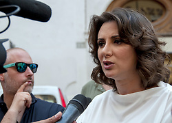 June 6, 2017 - Rome, Italy - Sit-in at Montecitorio convened by the Constitutional Democracy Committee to chair the discussion of the electoral law that begins today at the House of of Representatives. The Committee calls for the unanimous vote, the pivot of the German model, to be introduced; That the locked capillists are avoided; Which allows voters to choose the preferred candidate and to eliminate multiple candidatures. In the picture, the jurist Anna Falcone, of the Committee on Constitutional Democracy (Credit Image: © Patrizia Cortellessa/Pacific Press via ZUMA Wire)