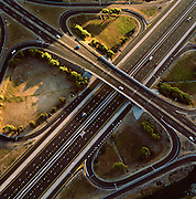 An aerial view of a freeway intersection near Cape Town, South Africa