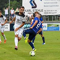 01.08.2020, C-Team Arena, Ravensburg, GER, WFV-Pokal, FV Ravensburg vs SSV Ulm 1846 Fussball, <br /> DFL REGULATIONS PROHIBIT ANY USE OF PHOTOGRAPHS AS IMAGE SEQUENCES AND/OR QUASI-VIDEO, <br /> im Bild Nicolas Jann (Ulm, #21), Jonas Wiest (Ravensburg, #8)<br /> <br /> Foto © nordphoto / Hafner