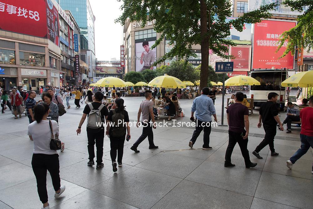 Pedestrians in the City Center in Chengdu, Sichuan, China