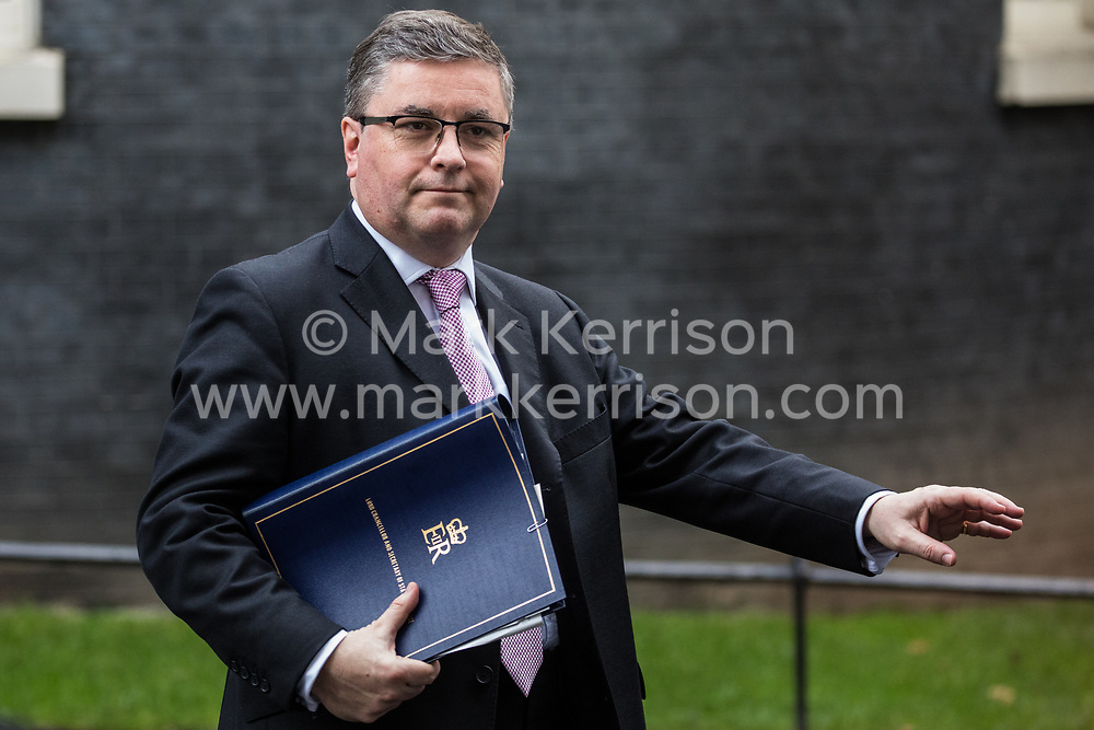 London, UK. 7 January, 2020. Robert Buckland QC, Lord Chancellor and Secretary of State for Justice, leaves 10 Downing Street following a Cabinet meeting.