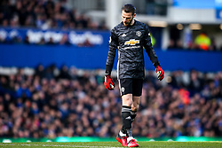 David De Gea of Manchester United cuts a dejected figure - Mandatory by-line: Robbie Stephenson/JMP - 01/03/2020 - FOOTBALL - Goodison Park - Liverpool, England - Everton v Manchester United - Premier League