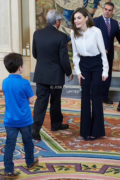 Queen Letizia of Spain attended an audience of a representation of the Estudiantes Club and their Foundation at Zarzuela Palace on March 28, 2017 in Madrid