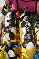 group of underwater diving tanks