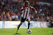 Jota of Brentford in action. Skybet football league Championship match, Brentford v Ipswich Town at Griffin Park in London on Saturday 8th August 2015.<br /> pic by John Patrick Fletcher, Andrew Orchard sports photography.